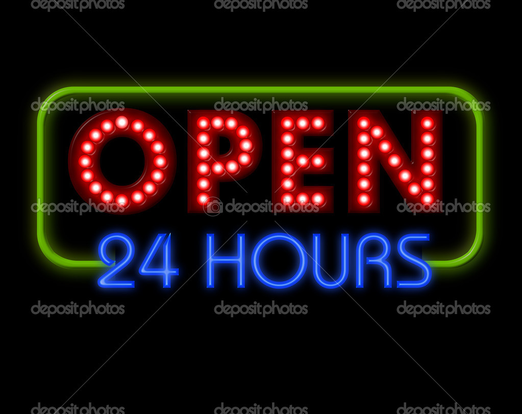 Open Neon Sign 24 hours in blue and green surround