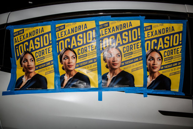 NEW YORK, NY - JUNE 26: Posters for progressive challenger Alexandria Ocasio-Cortez outside her victory party in the Bronx after Ocasio-Cortez upset incumbent Democratic Representative Joseph Crowly on June 26, 2018 in New York City.  Ocasio-Cortez upset Rep. Joseph Crowley in New York's 14th Congressional District, which includes parts of the Bronx and Queens. (Photo by Scott Heins/Getty Images)